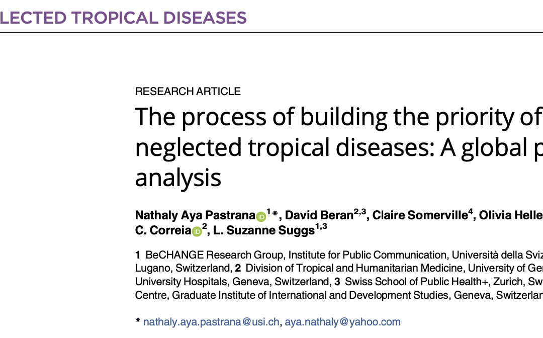 COHESION Publication: PLOS Neglected Tropical Diseases